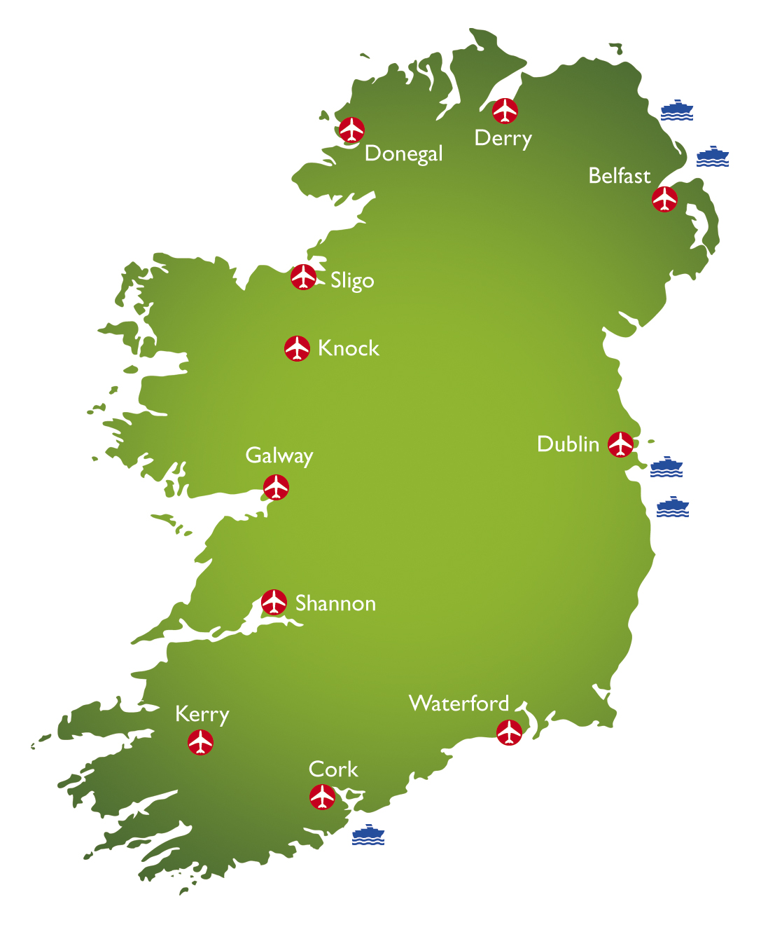 to Ireland location map